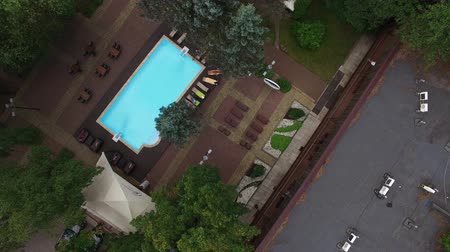 realty : Luxury villa with swimming ppol aerial Stock Footage