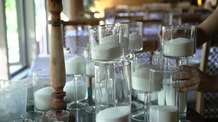 cera de abelha : Making white candles indoors. Woman candle maker Stock Footage