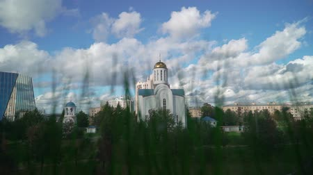 st petersburg : White christianity church in a city. Religion Stock Footage