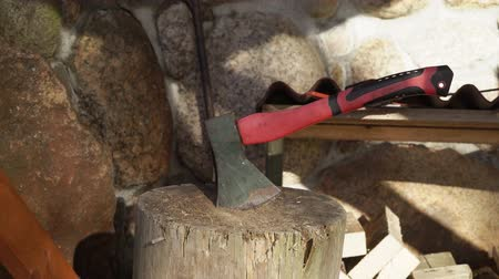 топор : Wood with sharp ax, close up axe at countryside
