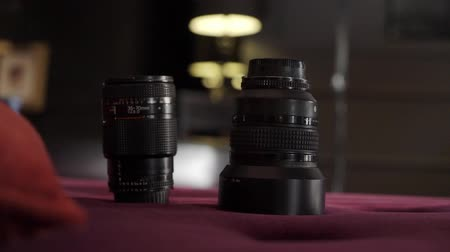 mirrorless : DSLR camera lenses at photosession for photography