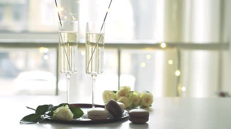 elegant dessert : Luxurious champagne wedding party with white roses and macaron desserts, holiday celebration with wine