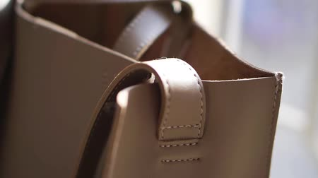 kayış : Natural faux beige leather bag details, real leather accessories Stok Video
