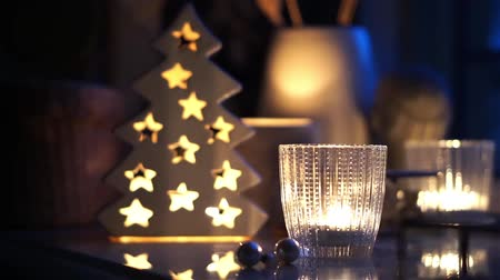 christmas tree decoration : Christmas night home decoration with burning candles