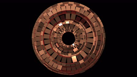 dourado : Looped animation on transparent background, set of spinning rings made of copper shiny blocks