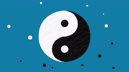 daoism : Yin and Yang symbol reveals in hand-drawn style (alpha matte included)