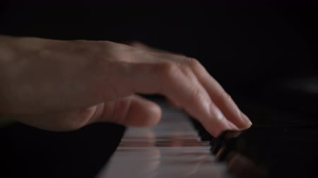 enstrümanlar : Shallow depth of field hands of woman playing piano keyboard press on black and white key Stok Video