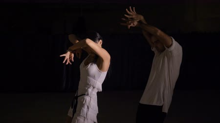 vigorous : Beautiful couple of professional artists dancing passionate dance. Stock Footage