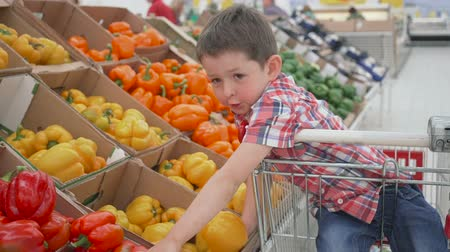 healthyfood : little boy in supermarket smelling yellow bulgarian peppers sitting in the trolley. Shopping in store, fresh products for kitchen and cooking.
