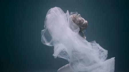 meerjungfrau : Beautiful woman swimming underwater in white elegant dress