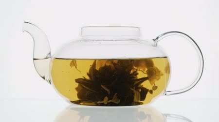 občerstvení : exotic green tea with flowers in glass teapot on white background