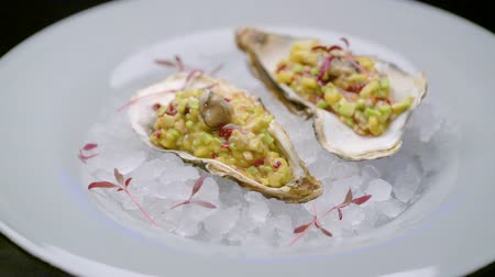 hors d oeuvre : Fresh oysters in crushed ice on a white plate