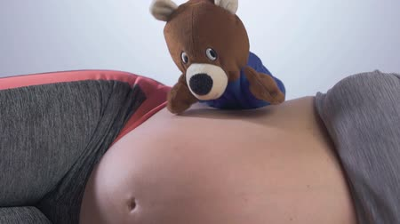 долл : Pregnancy concept. Pregnant woman with toy bear Стоковые видеозаписи