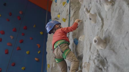 flexibilidade : Little boy in a harness climbing a wall with grips
