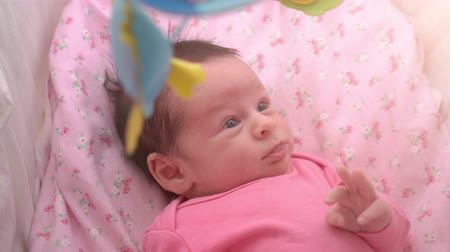 springkussen : Cute newborn baby girl watching a colorful mobile toy