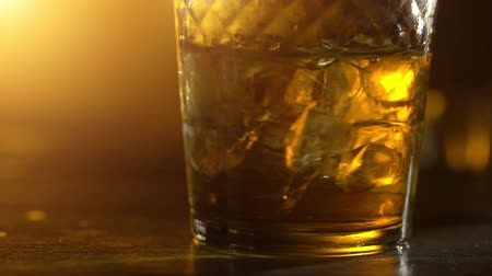 mout : IJsblokjes in een whisky Stockvideo