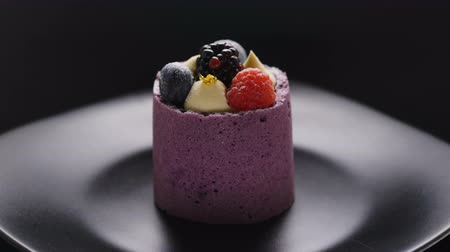 blackberry : Delicious cake with blueberry mousse and fresh raspberrie and blueberry