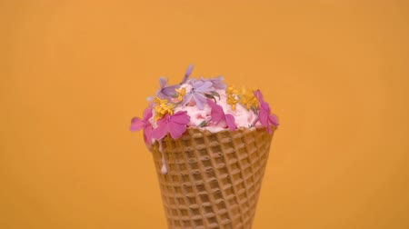 softeis : Vanilla Ice cream in waffle cone decorated with spring flowers, vanilla style