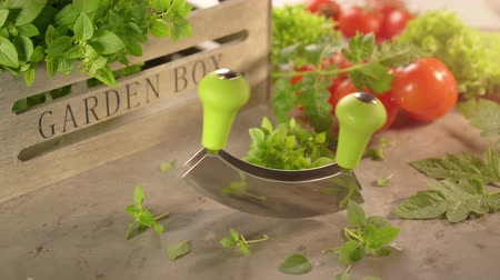 oregano : Cinemagraph kitchen herbs and tomatoes with a mezzaluna knife