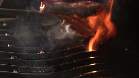 kamp ateşi : Tasty beef steaks on the grill with fire flames Stok Video