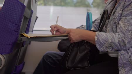 puzle : woman solving crossword puzzle while sitting in the train