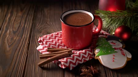 pão de especiarias : Homemade hot chocolate in red mug with cinnamon and gingerbread on wooden background