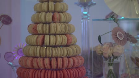 various tea : French Macarons. Toll Candy bar Stock Footage