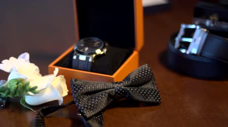 zsák : wedding accessories for stylish men Stock mozgókép