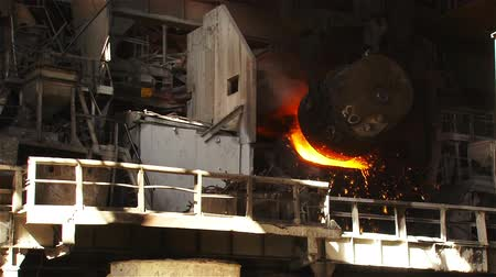 ironworks : Hot steel pouring in steel plant Stock Footage
