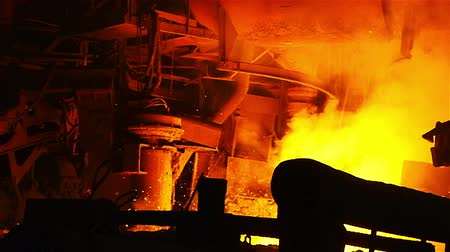 steel : Hot steel pouring in steel plant Stock Footage