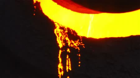 open hearth : Molten metal melted in furnace at metallurgical plant Stock Footage