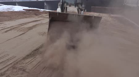 asphalt base : Tractor leveled the hot sand 7 Stock Footage