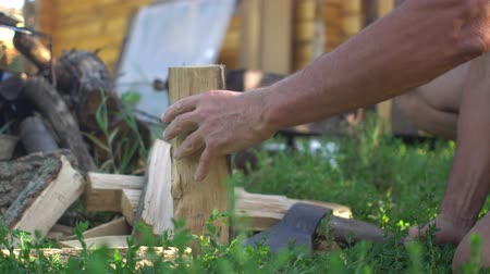 hatchet : Man chopping wood for the grill, fireplace or stove Stock Footage