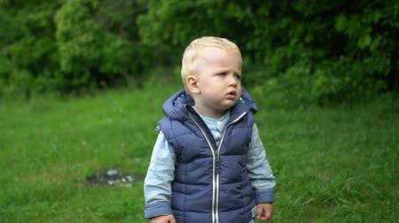 learning to walk : Portrait of cute baby boy looking to camera in park Stock Footage