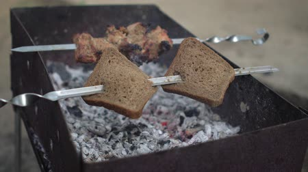 kabab : Skewers with bread and shish kebab preparing on grill