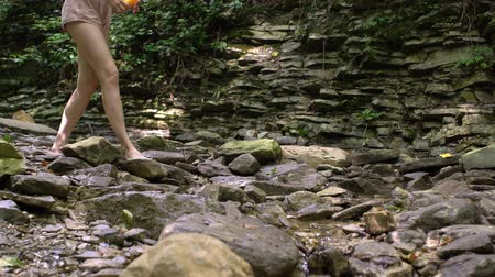 çekicilik : Girl walks barefoot in mountain wood down the river Stok Video
