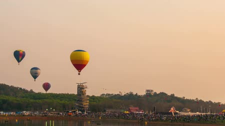 chiang rai : Balloons float across the sky at the Chiang Rai Balloon Festival in Thailand