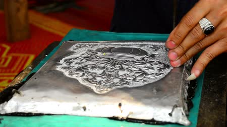 chiang rai : The art and pattern of carving silverware. Demonstration of the silverware of the Northerners, Thailand. Thai handicraft style