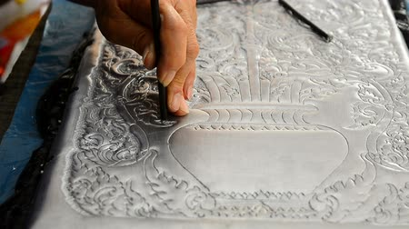 rai : The art and pattern of carving silverware. Demonstration of the silverware of the Northerners, Thailand. Thai handicraft style
