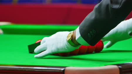 審判 : Snooker referee set up ball for new game on the snooker table.