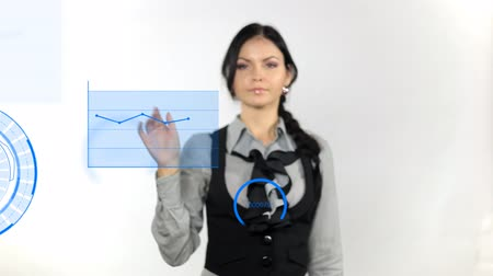 průhlednost : Business woman pushing on whiteboard, isolate on white background