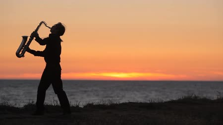 saxofone : The silhouette of a musician playing saxophone on the seacoast at sunset Stock Footage