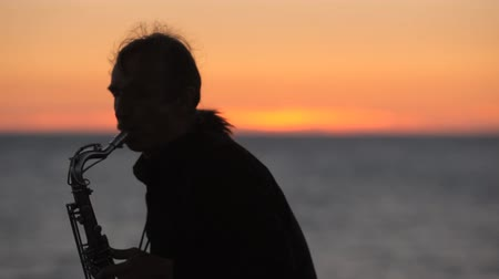 woodwind : The silhouette of a musician playing saxophone on the seacoast at sunset Stock Footage