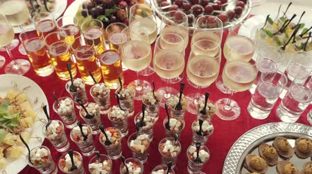 šampaňské : Alcohol in the glasses, juice, salads, canaps and fruit for catering