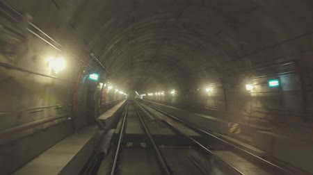 underground tunnel : Shooting of the subways tunnel from subway car Stock Footage