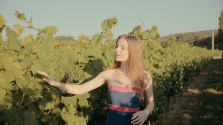 giydirmek : Slim girl in strapless dress posing in rows of vineyards