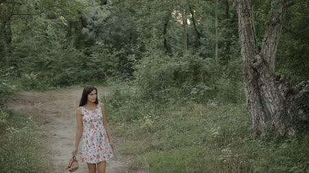 enchanted princess : Beautiful girl in the dress walking along a path in the woods Stock Footage