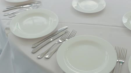 porselen : The waiter puts on a table for the banquet cutlery