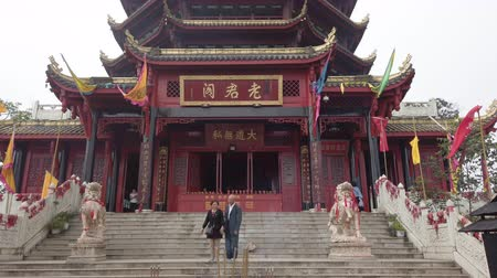 daoism : QingChengShan, Sichuan province, China - Sept 26, 2019 : LaoJunGe taoist temple at the top of QingChengShan mountain