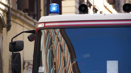 first officer : Views of an Italian firetruck in the city of Rome.